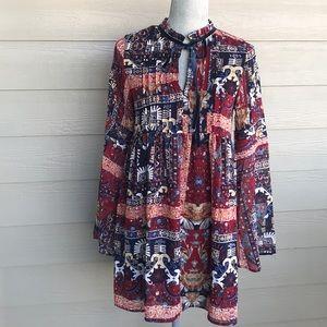 Boho long sleeve dress size small
